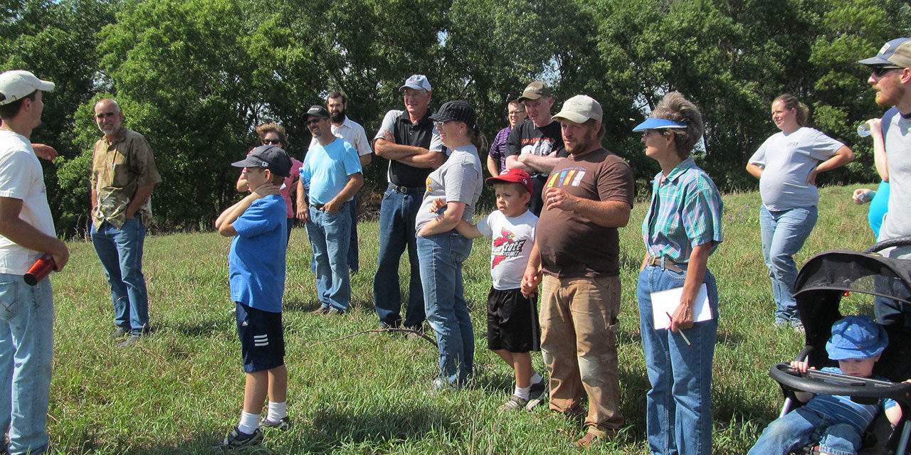 Nathan Anderson teaches at his field day, photo courtesy of Practical Farmers of Iowa